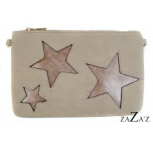 zaZa'z Clutch taupe met sterren