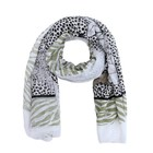C&S Designs Sjaal white mix green -tiger-