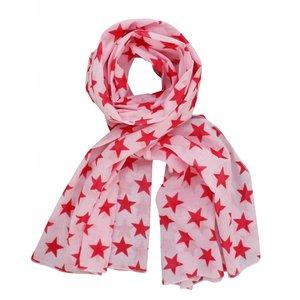 Krasilnikoff Sjaal roze met rode sterren