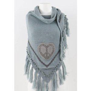 C&S Designs Omslagdoek hart | grijsblauw
