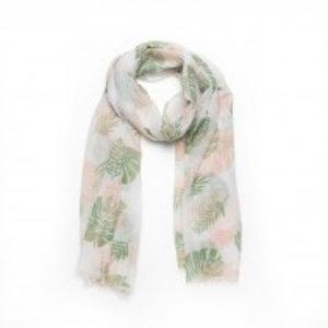 Biba Sjaal leaf groen met roze