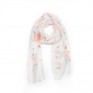 Biba Sjaal wit met flamingo