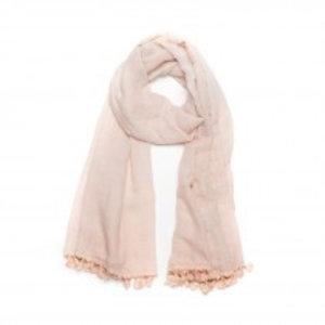 Biba Sjaal roze met kwastjes