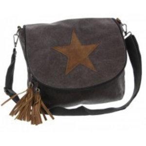Canvas bag crossy star donkergrijs