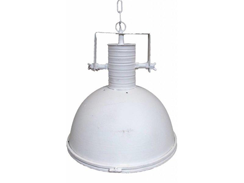 GeWoon Witte metalen hanglamp - met glasplaat