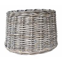 Ronde grove rieten lampenkap - Grey