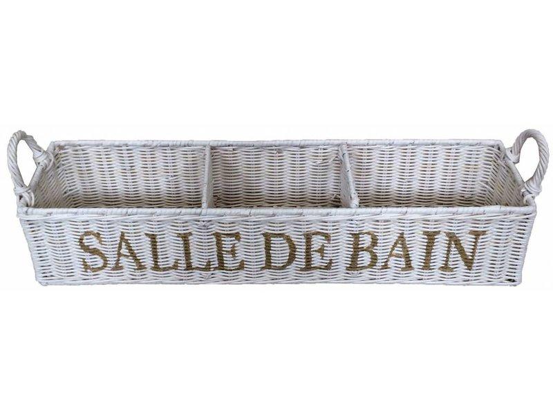 GeWoon Witte rieten badkamermand - Salle de Bain
