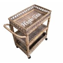 Rieten theetrolley op wielen - High Tea