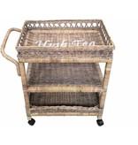 GeWoon Rieten theetrolley op wielen - High Tea