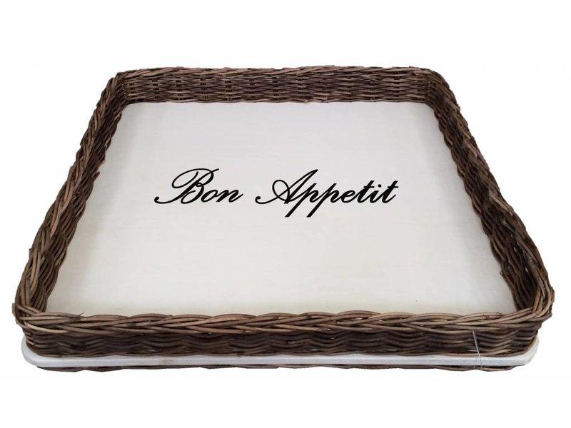GeWoon Vierkant rieten dienblad met witte bodem - Bon Appetit
