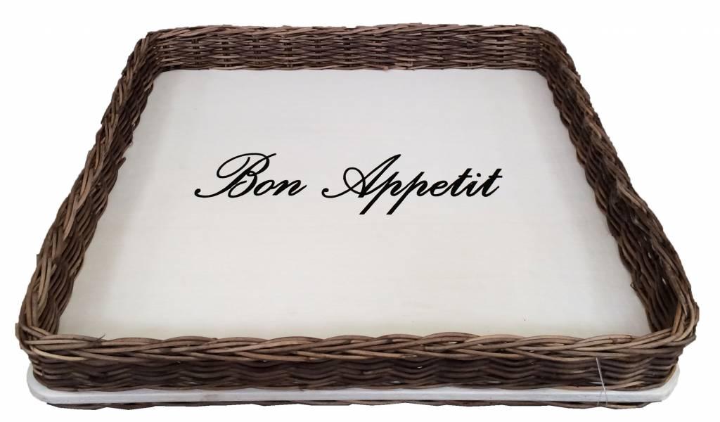 GeWoon Vierkant rieten dienblad met witte bodem   Bon Appetit   GeWoonKnus nl