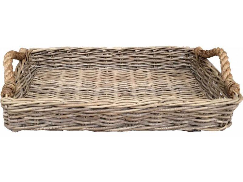 GeWoon Rechthoekig rieten dienblad met jute handvaten - L