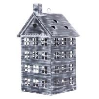 Greywash metalen windlicht - Huis
