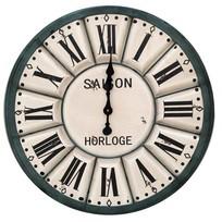 Groen/créme houten wandklok - Saison Horloge