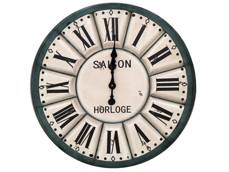 Clayre & Eef Groen/créme houten wandklok - Saison Horloge
