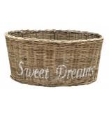 GeWoon Bruine ovale rieten lampenkap - wit Sweet Dreams