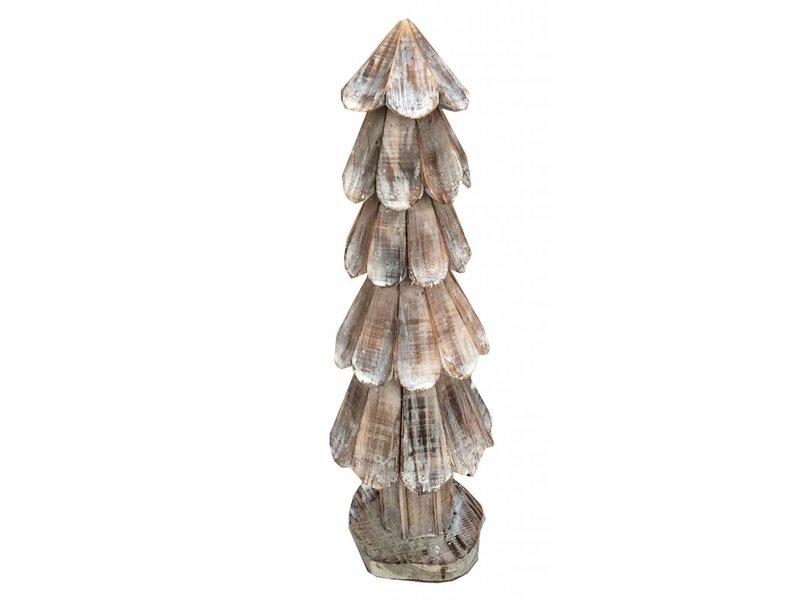 GeWoon Bruine houten schulp kerstboom - 65 cm