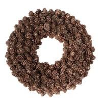 Bruine denneappelkrans glitterend - 30 cm
