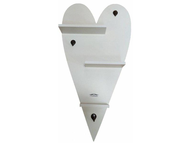 Countryfield Wit houten hartpaneel met haakjes - 38x74 cm