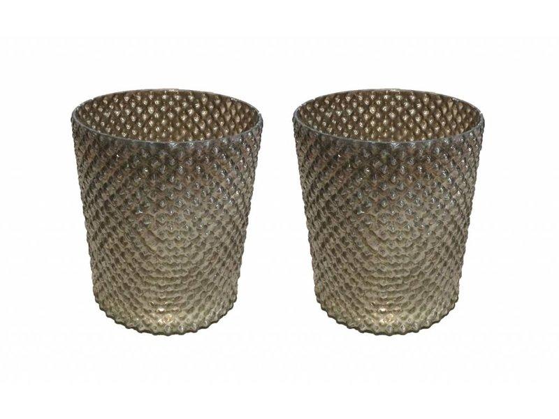 GeWoon Bruine glazen windlichtjen s/2 - 14x14 cm