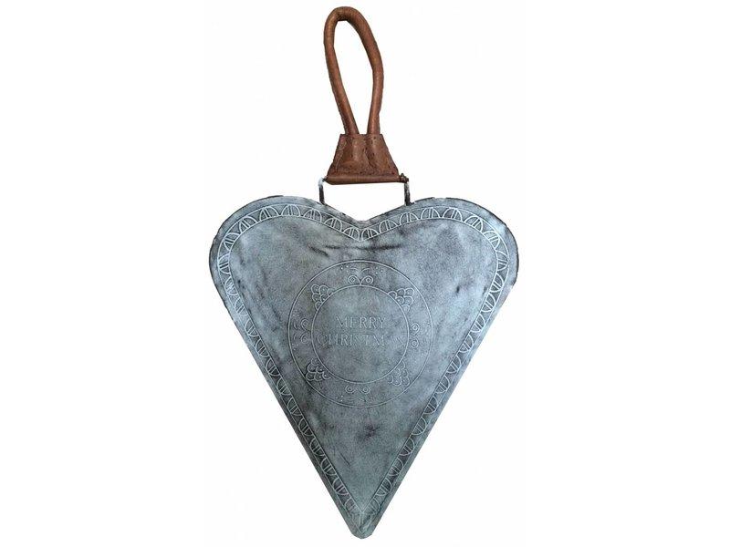 Braxton Grey metalen hart Merry Christmas - 27x27 cm