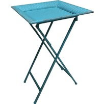 Blue metalen butlertray - 46x46xH74 cm