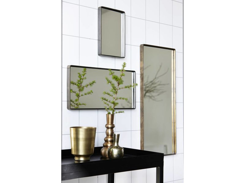 House Doctor Matzwart/nikkel kleurige spiegel Reflection - 25x55 cm