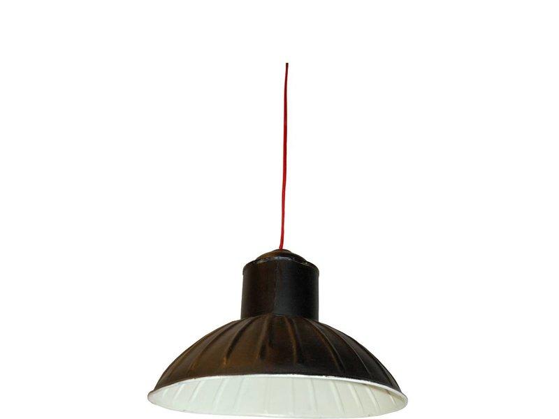 Trademark Living Zwarte metalen hanglamp créme - 38 cm