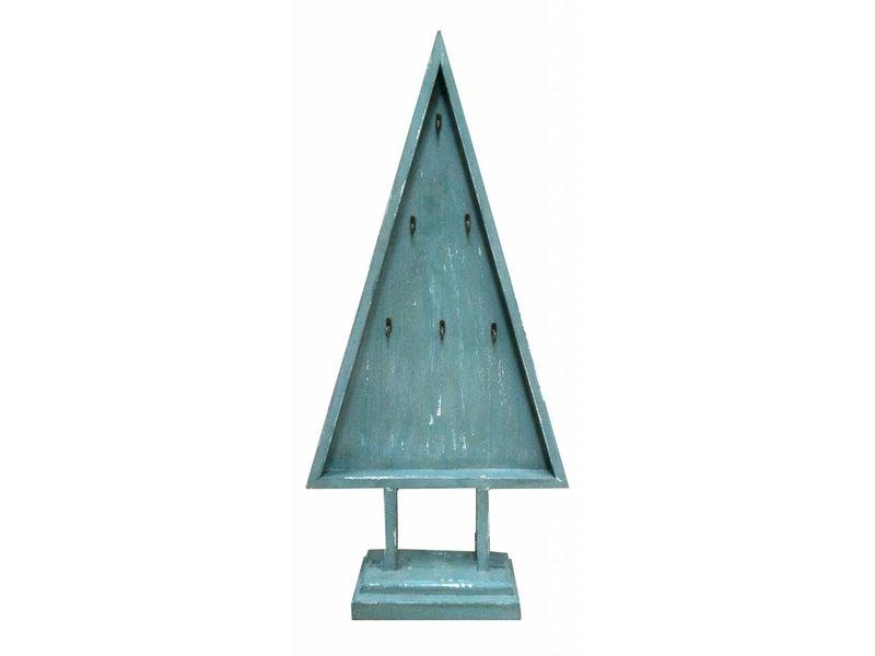 GeWoon Blue houten kerstboom met haakjes - H93 cm