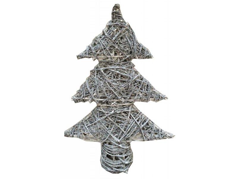 GeWoon Greywash rotan kerstboom met verlichting - 50xH70 cm