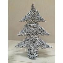 Greywash rotan kerstboom met verlichting - 50xH70 cm
