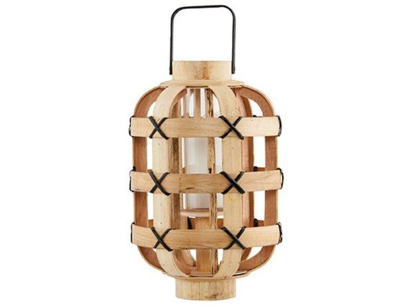 House Doctor Naturel houten lantaarn Bamboo - H35 cm