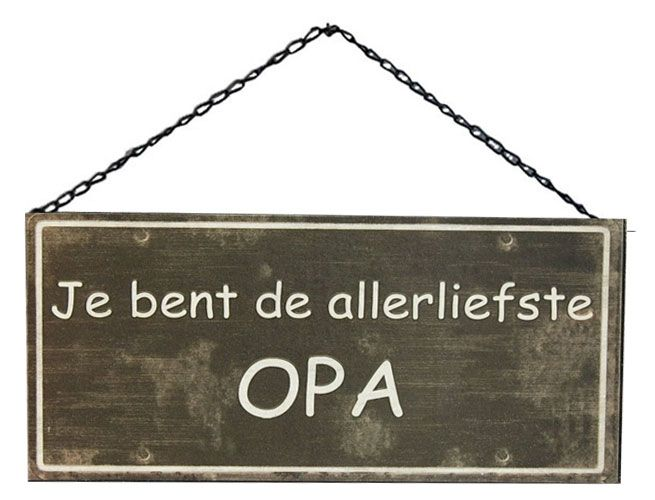 GeWoon Metalen tekstbord 30xH15 cm - Allerliefste Opa