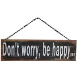 GeWoon Metalen tekstbord 42xH13 cm - Don't worry, be happy..