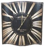 Countryfield Zwarte metalen wandklok Kensington - 48x50 cm
