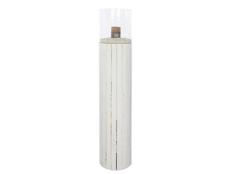 GeWoon Wit houten windlicht Old Pine L - 114 cm