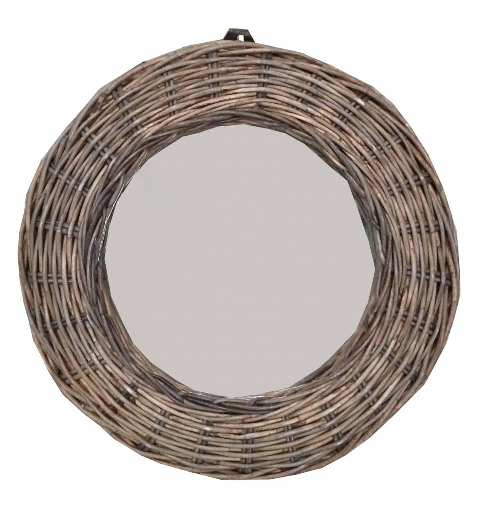 Gewoon ronde rieten spiegel 28 cm for Spiegel in spiegel