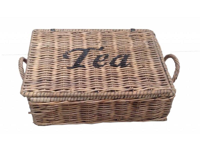 GeWoon Rieten theebox Tea - zes vakjes