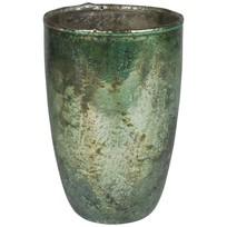 Groene glazen theelichthouder L