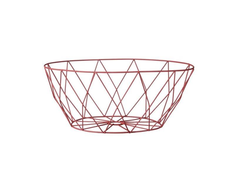 Bloomingville Rode draadmetalen fruitmand - 25 cm