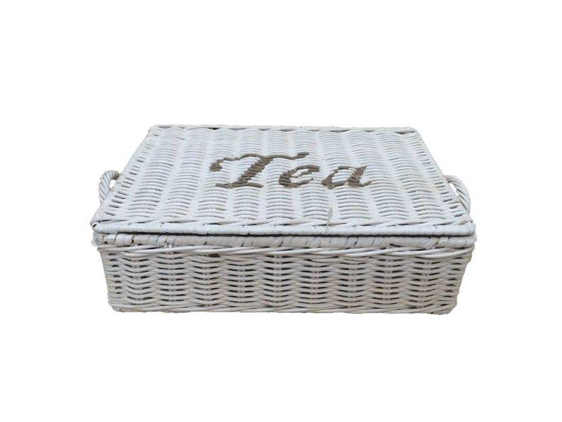 GeWoon Witte rieten theebox Tea - zes vakjes