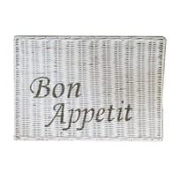 Witte rieten placemat - Bon Appetit