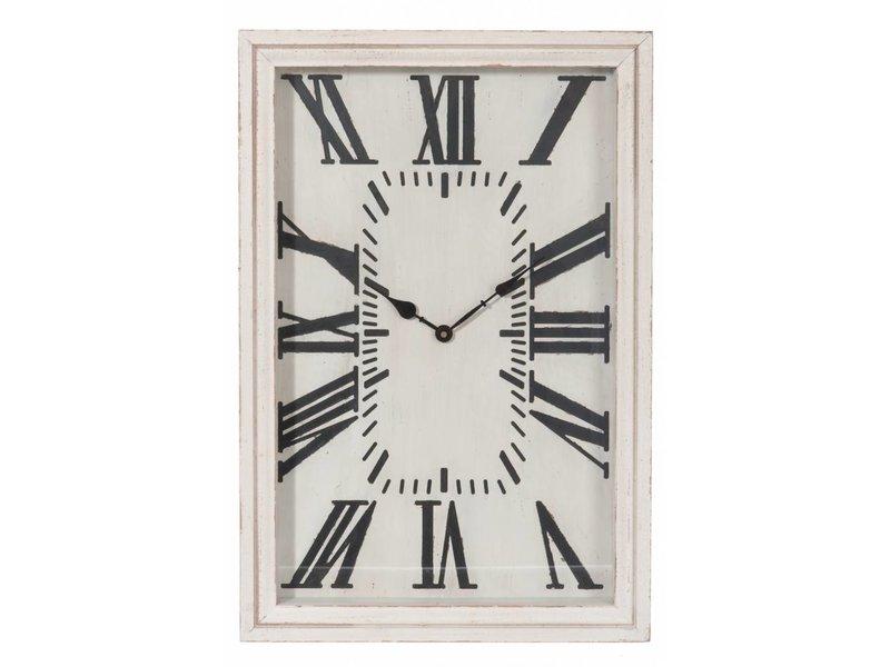 J-Line Witte houten wandklok - 40x60 cm