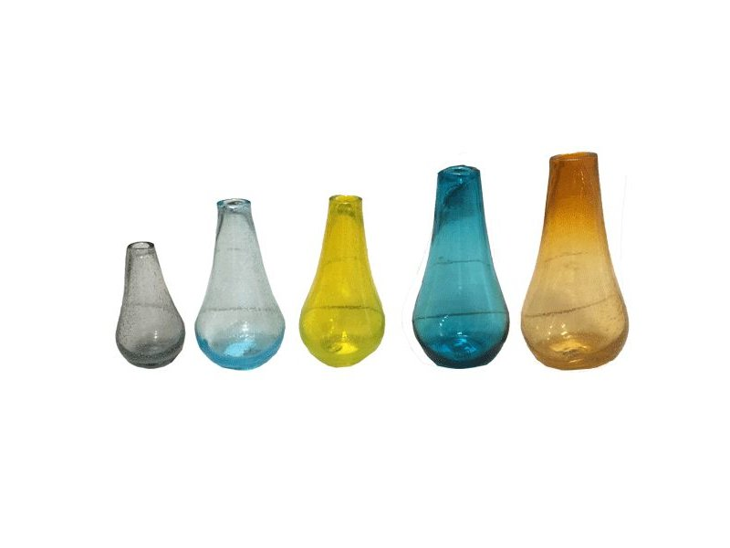 PTMD Collection Gekleurde glazen flesjes - set van 5