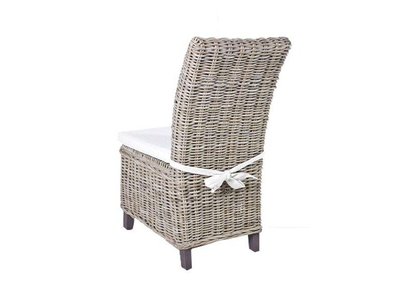 Stoel Rotan Wit : Gewoon rieten stoel dining met wit kussen gewoonknus