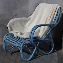 Blauwe rotan loungestoel - Mahakan