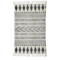 Vloerkleed geblokt grijs/zwart - 60x90 cm