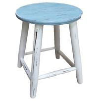 Houten krukje blauw/wit - 47 cm