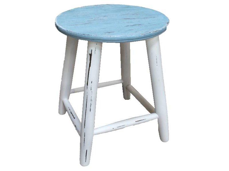 GeWoon Houten krukje blauw/wit - 47 cm