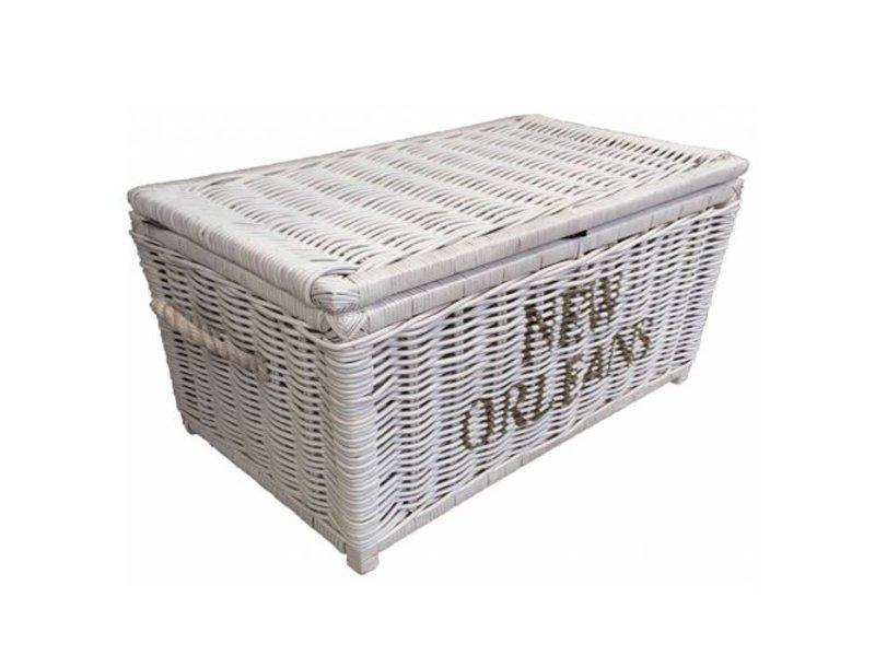 GeWoon Grote witte rieten mand XL - New Orleans